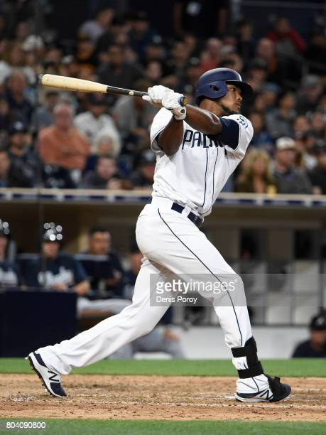 Franchy Cordero of the San Diego Padres plays during a baseball game against the Atlanta Braves at PETCO Park on June 27 2017 in San Diego California