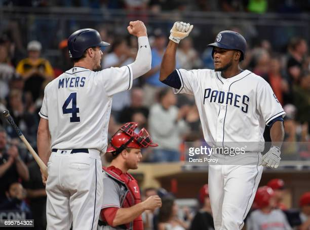 Franchy Cordero of the San Diego Padres right is congratulated by Wil Myers after hitting a solo home during the third inning of a baseball game...