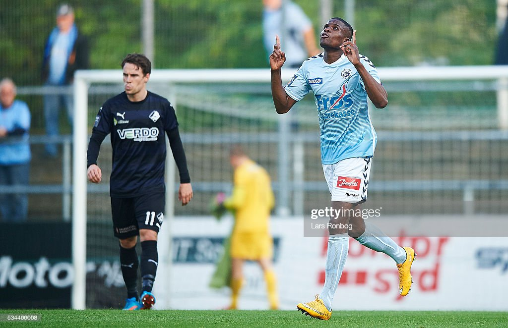 Francia Dickoh of Sonderjyske celebrates after scoring their first goal during the Danish Alka Superliga match between Sonderjyske and Randers FC at Sydbank Park on May 26, 2016 in Haderslev, Denmark.