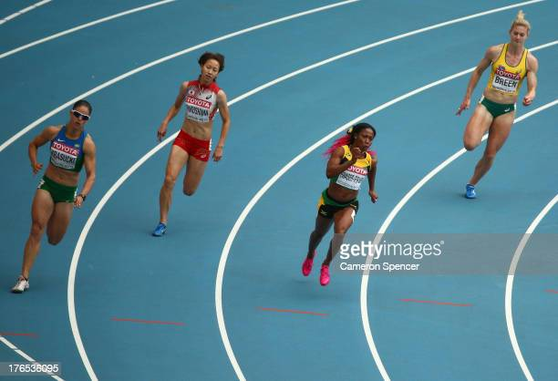 Franciela Krasucki of Brazil Chisato Fukushima of Japan ShellyAnn FraserPryce of Jamaica and Melissa Breen of Australia compete in the Women's 200...