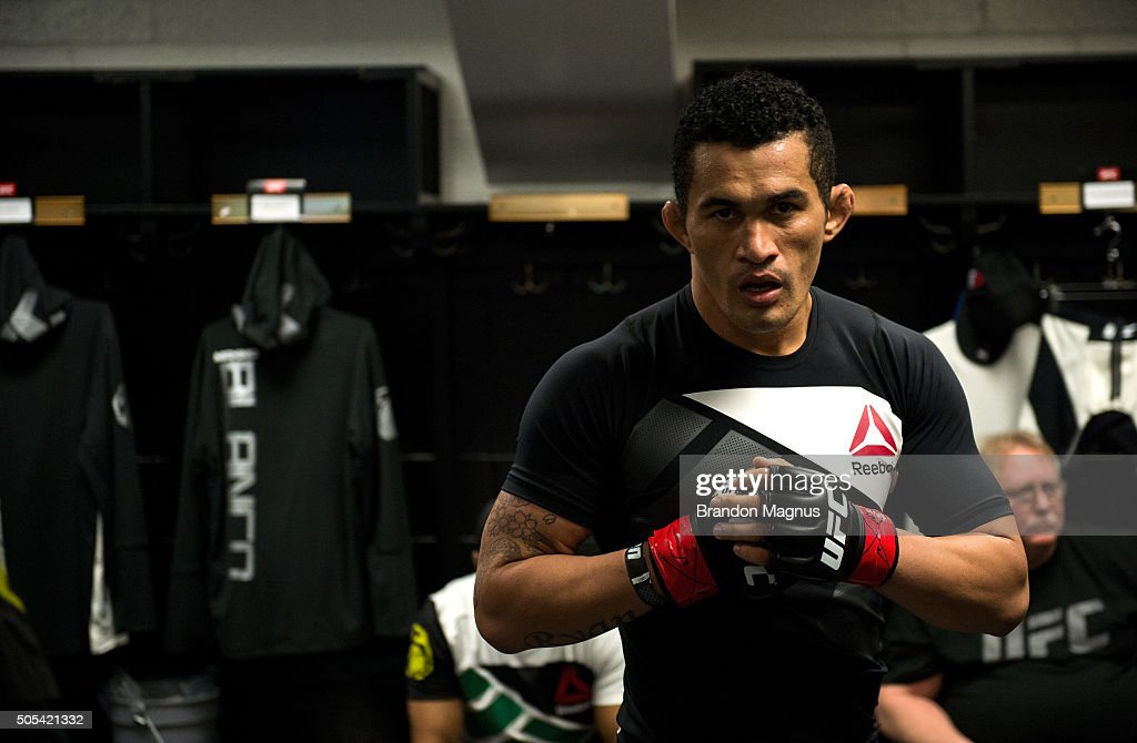 Francimar Barroso warms up backstage during the UFC Fight Night event inside TD Garden on January 17, 2016 in Boston, Massachusetts.