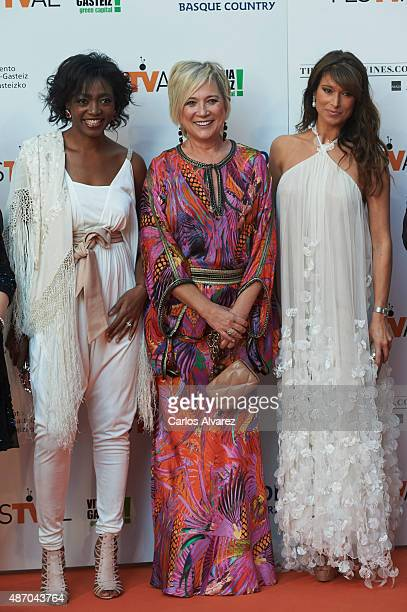 Francine Galvez Ines Ballester and Sonia Ferrer attend the 7th FesTVal Television Festival 2015 the closing ceremony at the Principal Theater on...