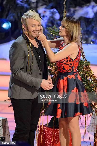 Francine Jordi and Ross Antony are seen on stage during the tv show 'Das Adventsfest der 100000 Lichter' on November 26 2016 in Suhl Germany