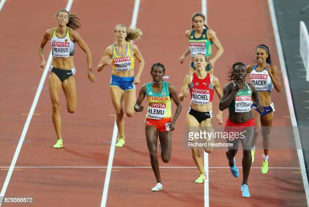 Francine Niyonsaba of Burundi leads Habitam Alemu of Ethiopia in the womens 800m heats during day seven of the 16th IAAF World Athletics...