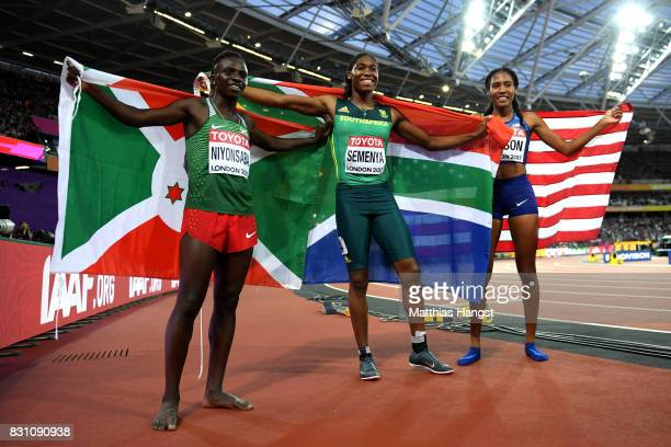 Francine Niyonsaba of Burundi silver Caster Semenya of South Africa gold and Ajee Wilson of the United States broze celebrate after the Womens 800...