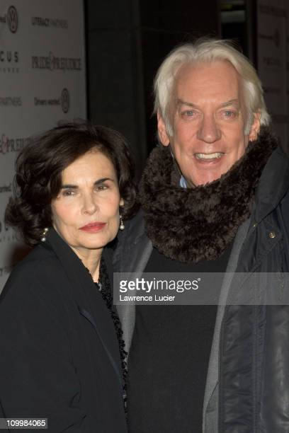 Francine Racette and Donald Sutherland during Focus Features' Pride Prejudice New York City Premiere Arrivals at Loews Lincoln Square in New York...
