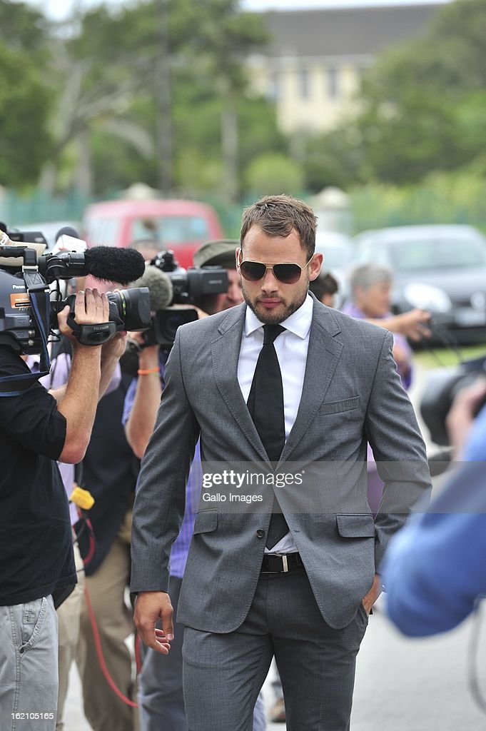 Francios Hougaard at Reeva Steenkamp's memorial service at the Victoria Park Crematorium on February 19, 2013 in Port Elizabeth, South Africa. Steenkamp was allegedly murdered by boyfriend, Oscar Pistorius on February 14, 2013. Pistorius, who has been charged with the murder, is appearing in court today for his bail hearing.