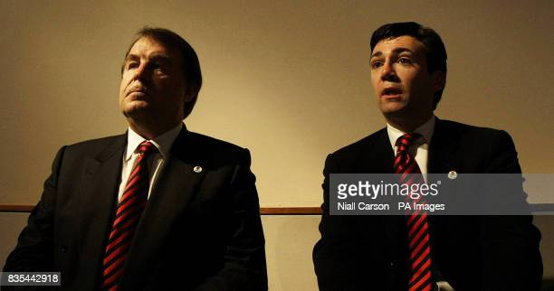 Francis Baron and Culture Secretary Andy Burnham speak to the media during the Rugby Union World Cup 2015/2019 Tender Presentation at the Royal...