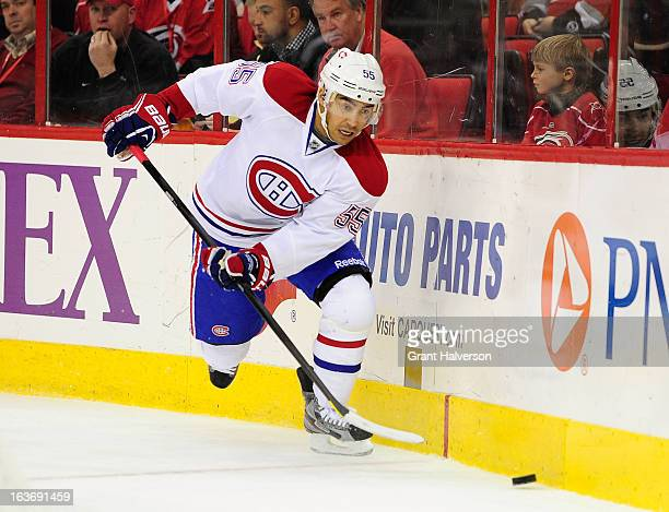 Francis Bouillon of the Montreal Canadiens against the Carolina Hurricanes during play at PNC Arena on March 7 2013 in Raleigh North Carolina The...