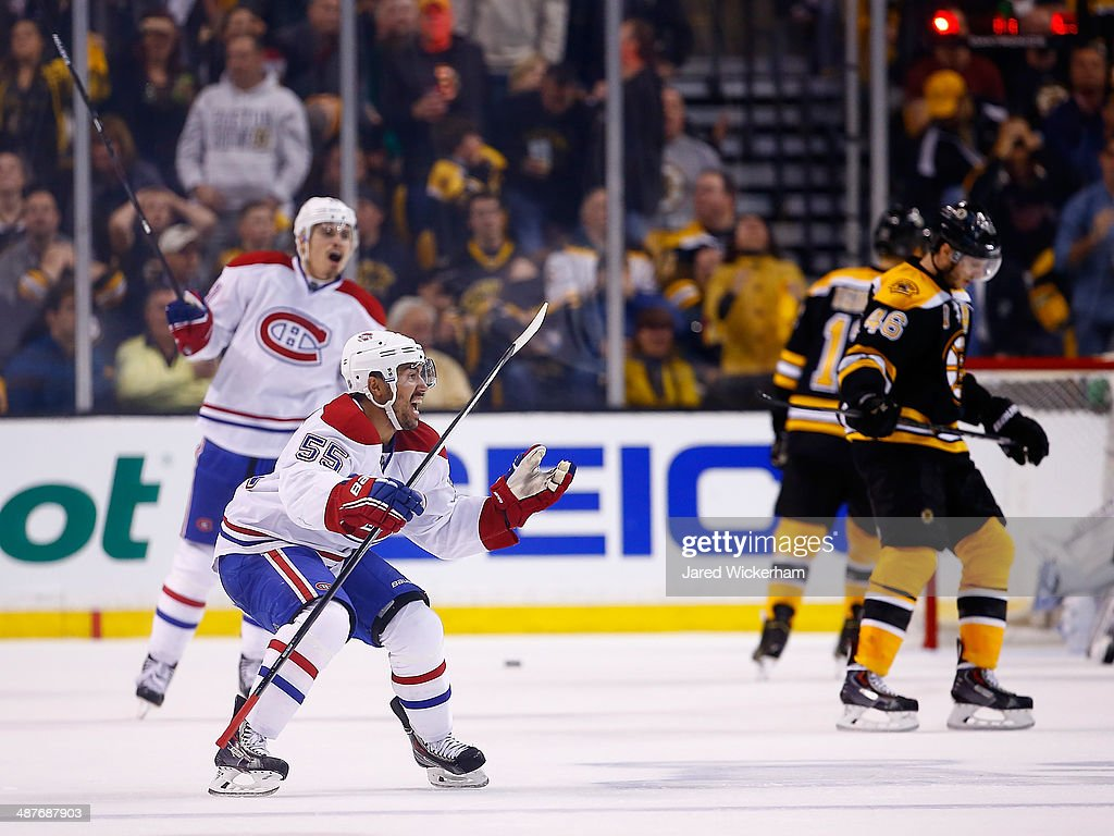 Francis Bouillon of the Montreal Canadiens celebrates his goal in the third period against the Boston Bruins in Game One of the Second Round of the...
