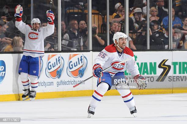 Francis Bouillon of the Montreal Canadiens celebrates his goal against the Boston Bruins in Game One of the Second Round of the 2014 Stanley Cup...