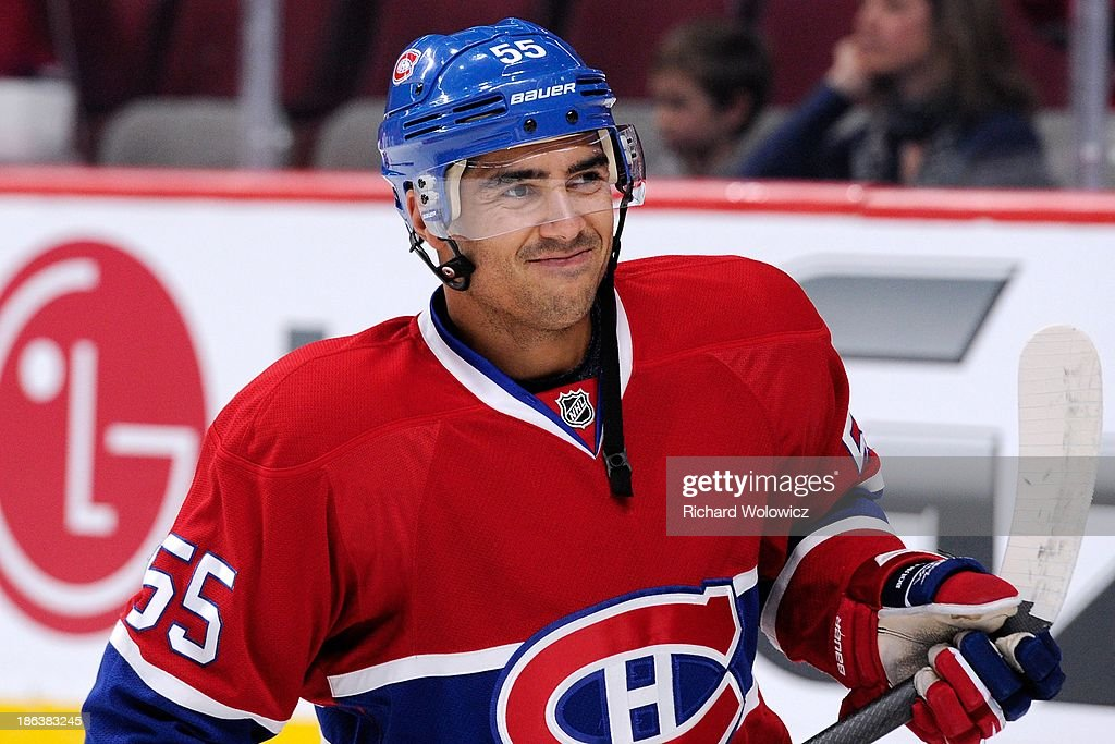 Francis Bouillon of the Montreal Canadiens during the warm up period prior to facing the Anaheim Ducks in their NHL game at the Bell Centre on...