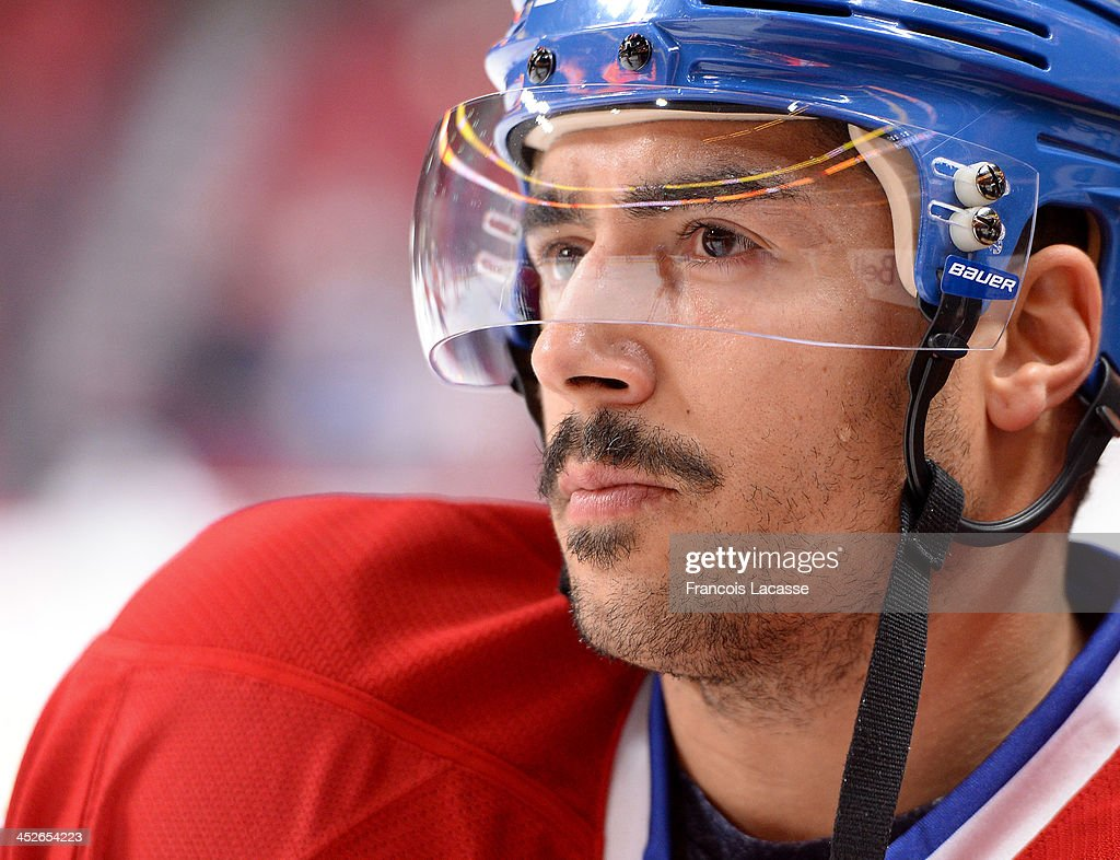 Francis Bouillon of the Montreal Canadiens looks on before the game against the Toronto Maple Leafs during the NHL game on November 30 2013 at the...
