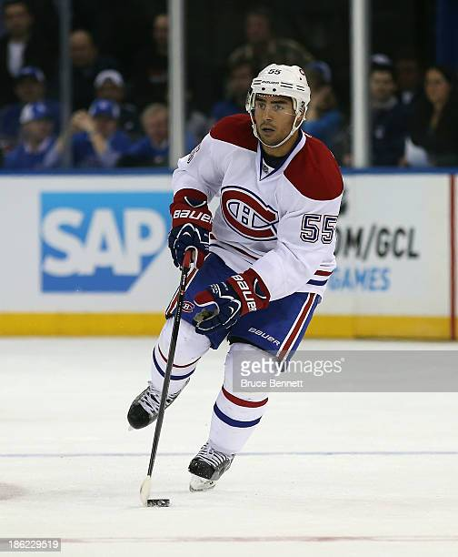 Francis Bouillon of the Montreal Canadiens skates against the New York Rangers at Madison Square Garden on October 28 2013 in New York City The...