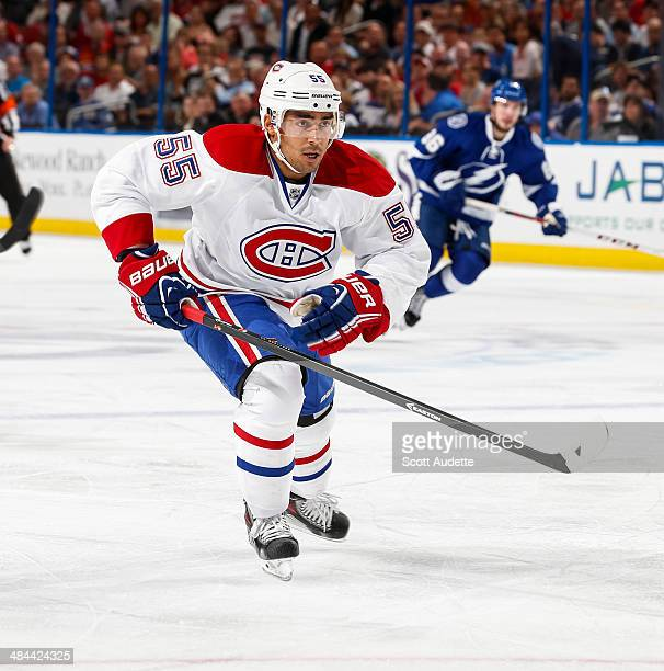 Francis Bouillon of the Montreal Canadiens skates against the Tampa Bay Lightning at the Tampa Bay Times Forum on April 1 2014 in Tampa Florida