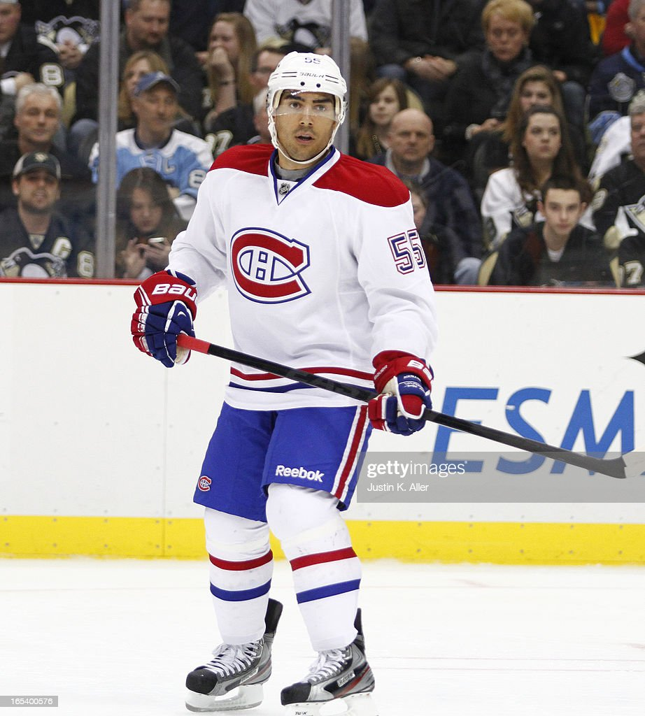 Francis Bouillon of the Montreal Canadiens skates against the Pittsburgh Penguins during the game at Consol Energy Center on March 26 2013 in...
