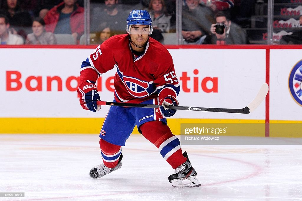 Francis Bouillon of the Montreal Canadiens skates during the NHL game against the Nashville Predators at the Bell Centre on October 19 2013 in...