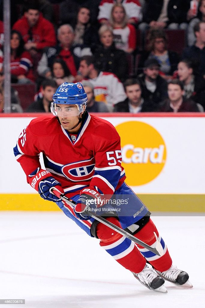 Francis Bouillon of the Montreal Canadiens skates during the NHL game against the New York Rangers at the Bell Centre on April 12 2014 in Montreal...