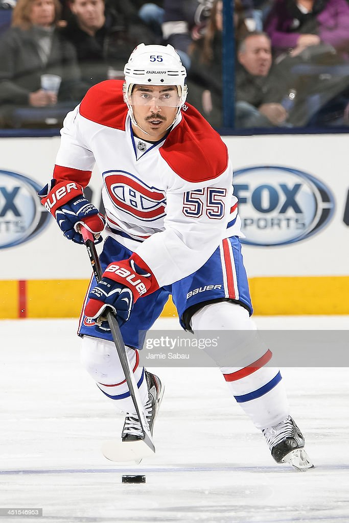 Francis Bouillon of the Montreal Canadiens skates with the puck against the Columbus Blue Jackets on November 15 2013 at Nationwide Arena in Columbus...