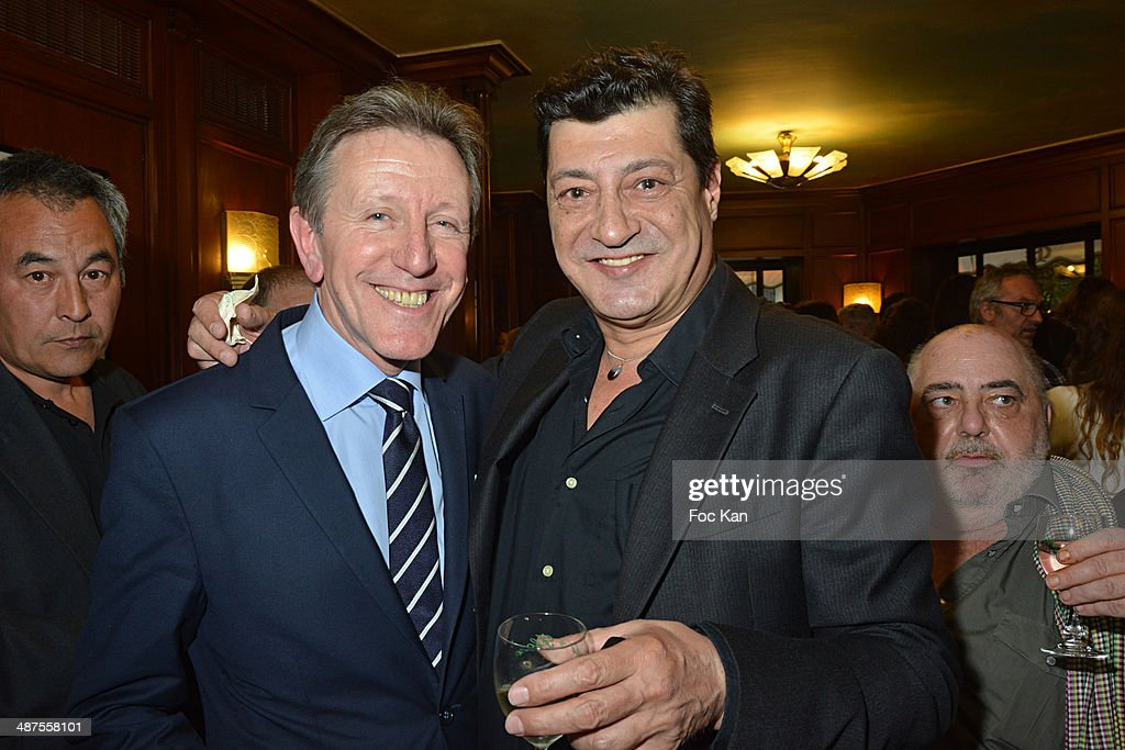 Francis Boussard from Le Cafe de Flore and Benjamin Feitelson attend the Francis Boussard's and Nadine Carpentier's : Private Cocktail At Cafe de Flore on April 30, 2014 in Paris, France.