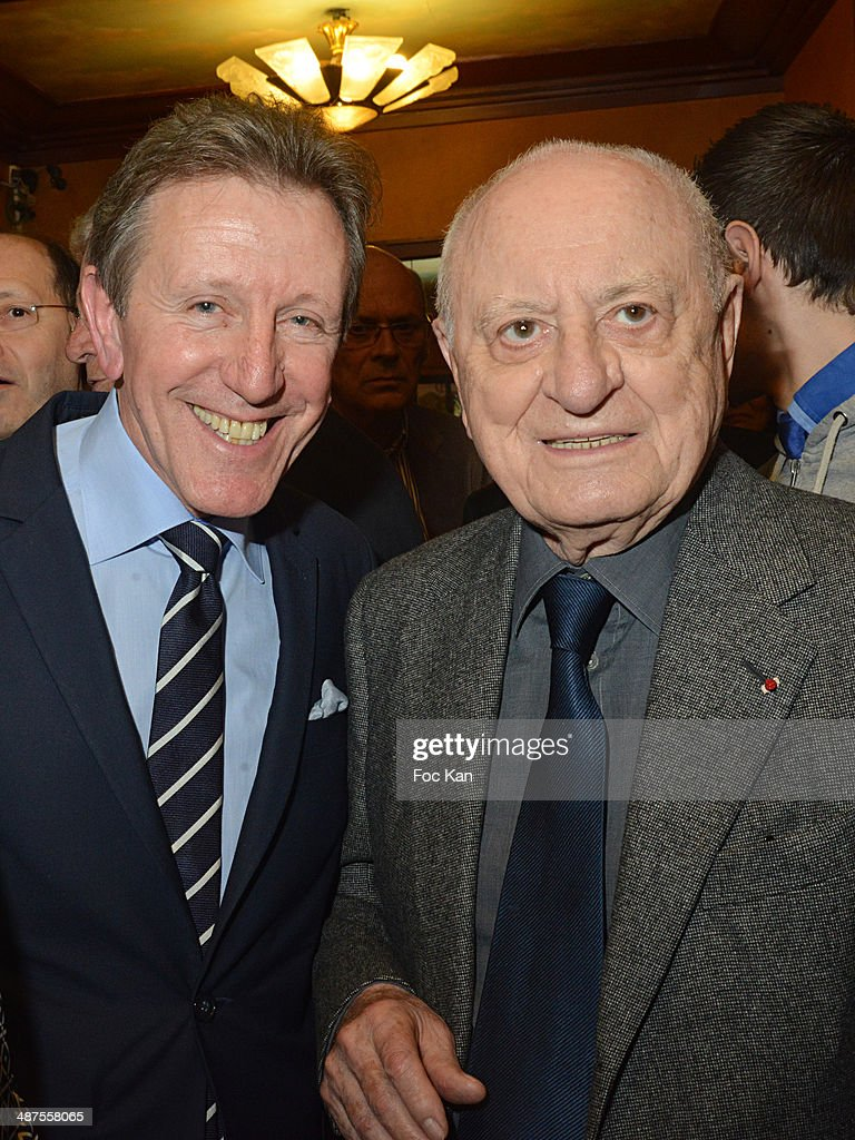 Francis Boussard from Le Cafe de Flore and Pierre Berge attend the Francis Boussard's and Nadine Carpentier's : Private Cocktail At Cafe de Flore on April 30, 2014 in Paris, France.