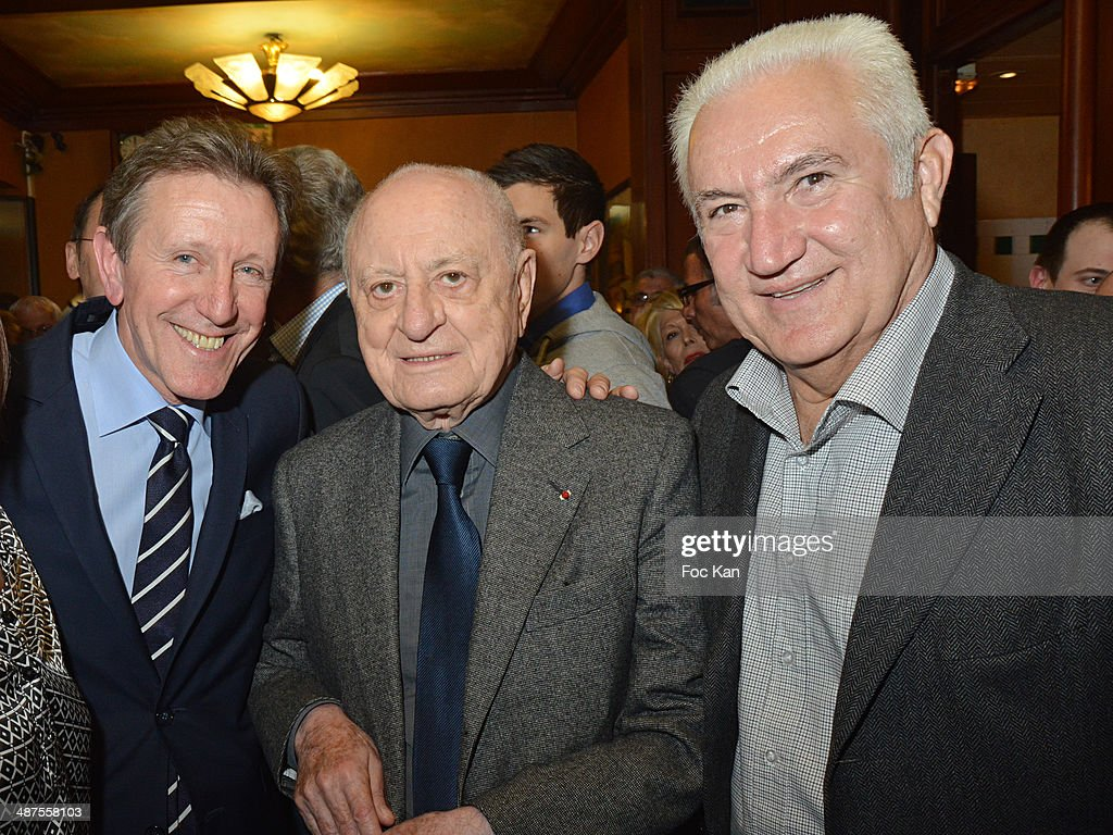 Francis Boussard from Le Cafe de Flore, Pierre Berge and Miroslav Siljegovic attend the Francis Boussard's and Nadine Carpentier's : Private Cocktail At Cafe de Flore on April 30, 2014 in Paris, France.