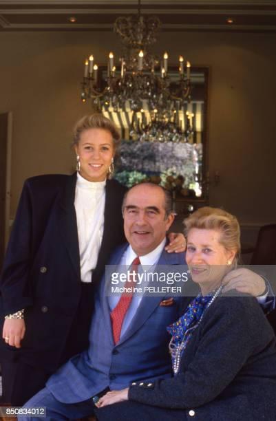 Francis Bouygues avec sa femme et sa fille le 5 avril 1987 France