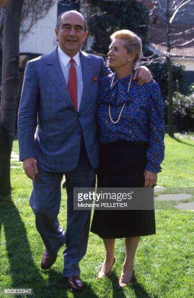 Francis Bouygues et sa femme le 5 avril 1987 France