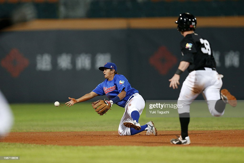 Francis Candela #12 of Team Philippines flips the ball to second base to get the force out in the top of the sixth inning during Game 5 of the 2013 World Baseball Classic Qualifier against Team New Zealand at Xinzhuang Stadium in New Taipei City, Taiwan on Saturday, November 17, 2012.