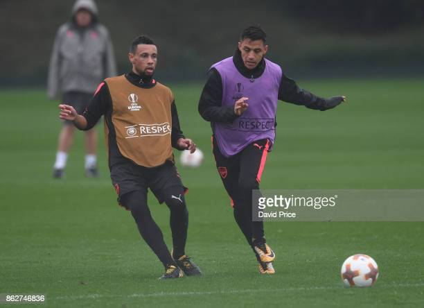 Francis Coquelin and Alexis Sanchez of Arsenal during the Arsenal Training Session at London Colney on October 18 2017 in St Albans England