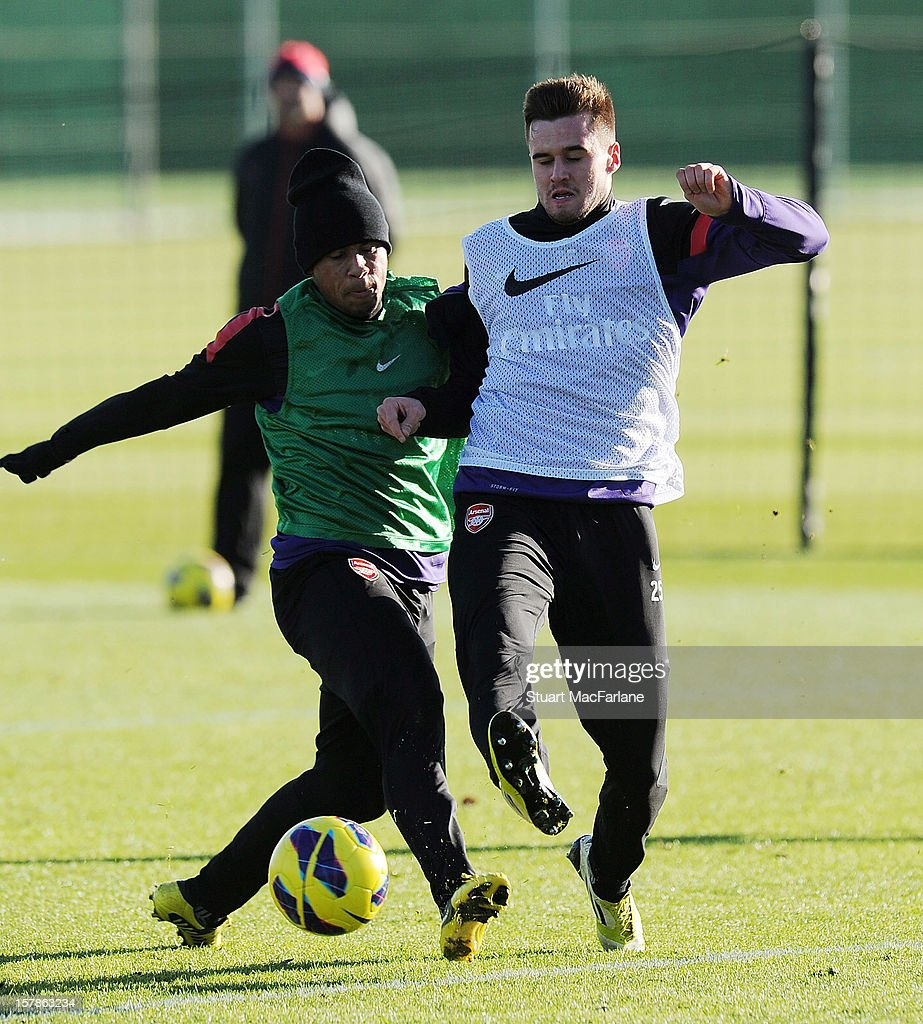 Francis Coquelin and Carl Jenkinson of Arsenal during a training session at London Colney on December 07, 2012 in St Albans, England.