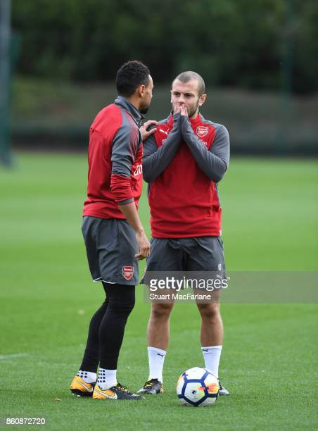 Francis Coquelin and Jack Wilshere of Arsenal during a training session at London Colney on October 13 2017 in St Albans England