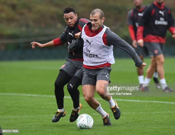 Francis Coquelin and Jack Wilshere of Arsenal during a training session at London Colney on October 23 2017 in St Albans England