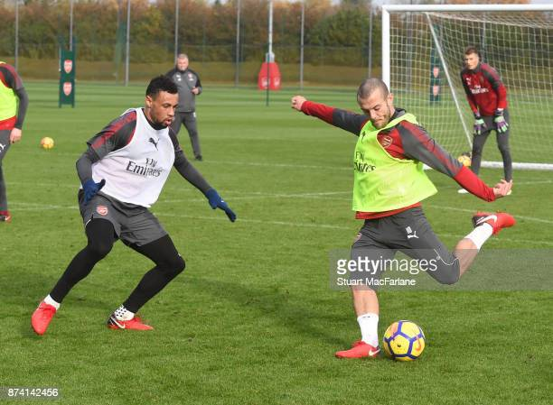 Francis Coquelin and Jack Wilshere of Arsenal during a training session at London Colney on November 14 2017 in St Albans England
