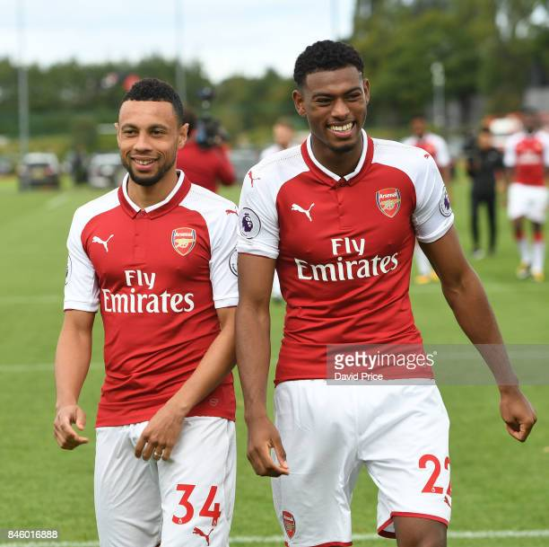 Francis Coquelin and Jeff ReineAdelaide of Arsenal during the 1st team squad photocall at London Colney on September 12 2017 in St Albans England