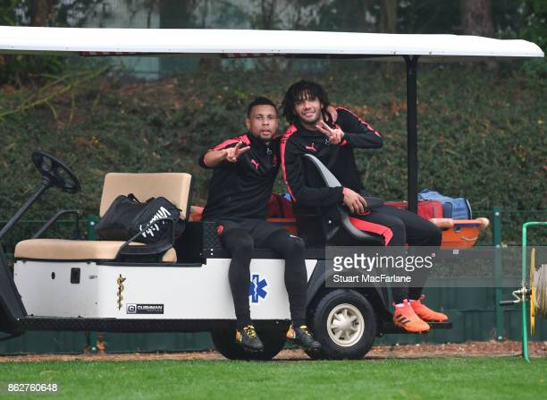Francis Coquelin and Mohamed Elneny of Arsenal after a training session at London Colney on October 18 2017 in St Albans England
