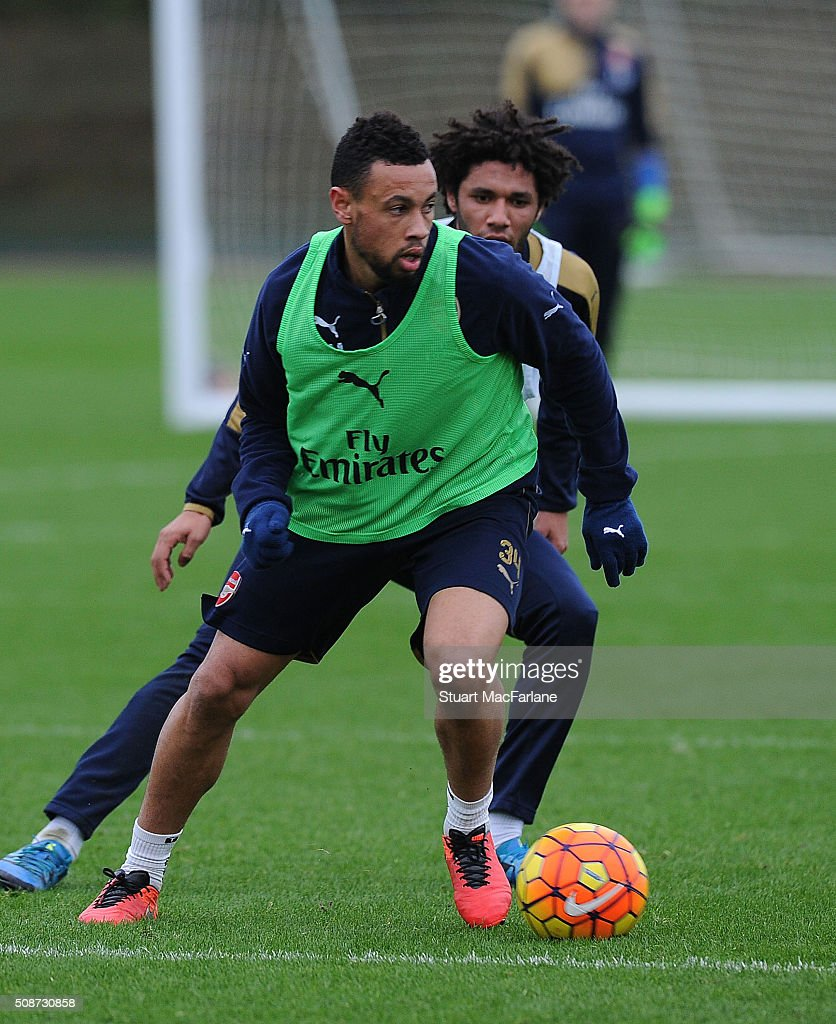 Francis Coquelin and Mohamed Elneny of Arsenal during a training session at London Colney on February 6, 2016 in St Albans, England.