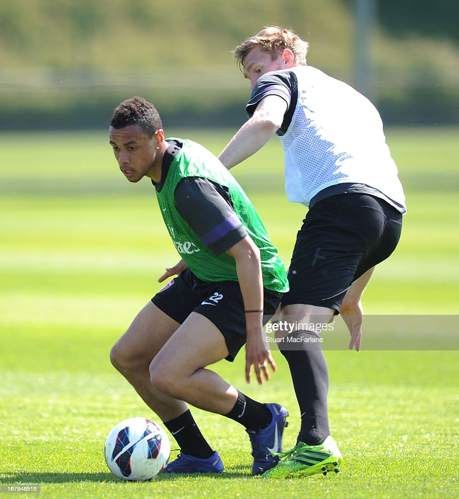 Francis Coquelin and Per Mertesacker of Arsenal during a training session at London Colney on May 03, 2013 in St Albans, England.