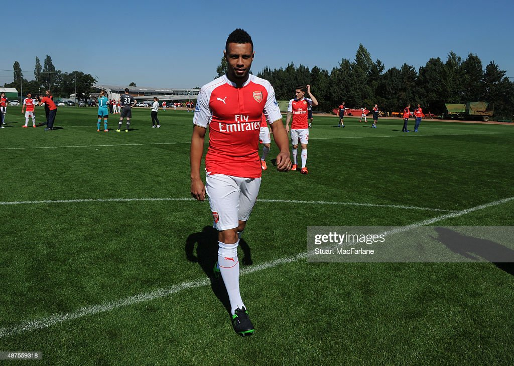 Francis Coquelin looks on before the Arsenal squad photograph at London Colney on September 10, 2015 in St Albans, England.