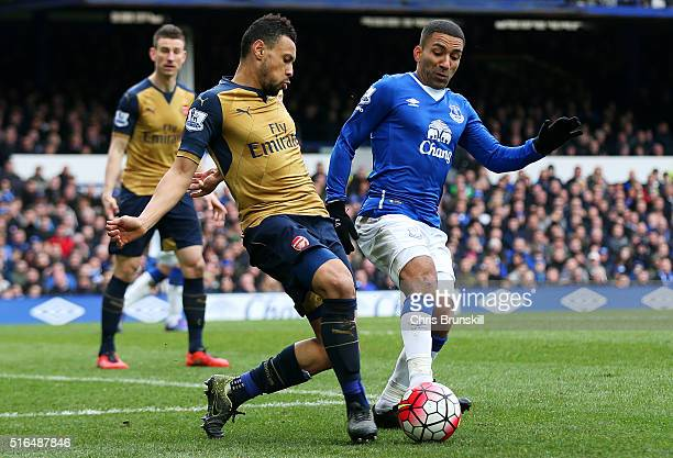 Francis Coquelin of Arsenal and Aaron Lennon of Everton compete for the ball during the Barclays Premier League match between Everton and Arsenal at...