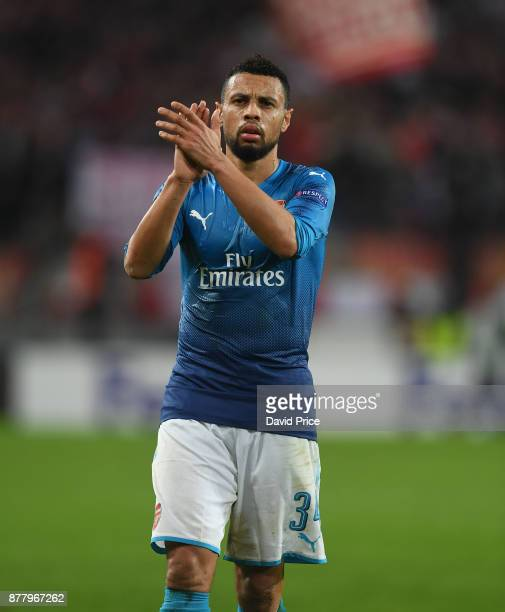 Francis Coquelin of Arsenal applauds the fans after the UEFA Europa League group H match between 1 FC Koeln and Arsenal FC at RheinEnergieStadion on...