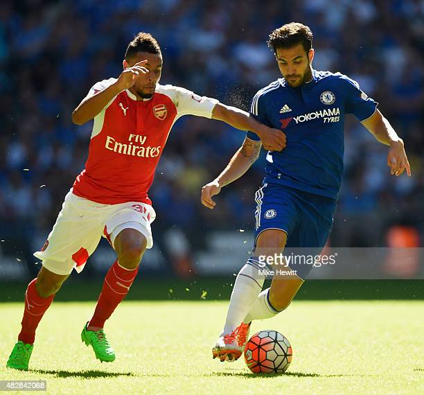 Francis Coquelin of Arsenal battles with Cesc Fabregas of Chelsea during the FA Community Shield match between Chelsea and Arsenal at Wembley Stadium...
