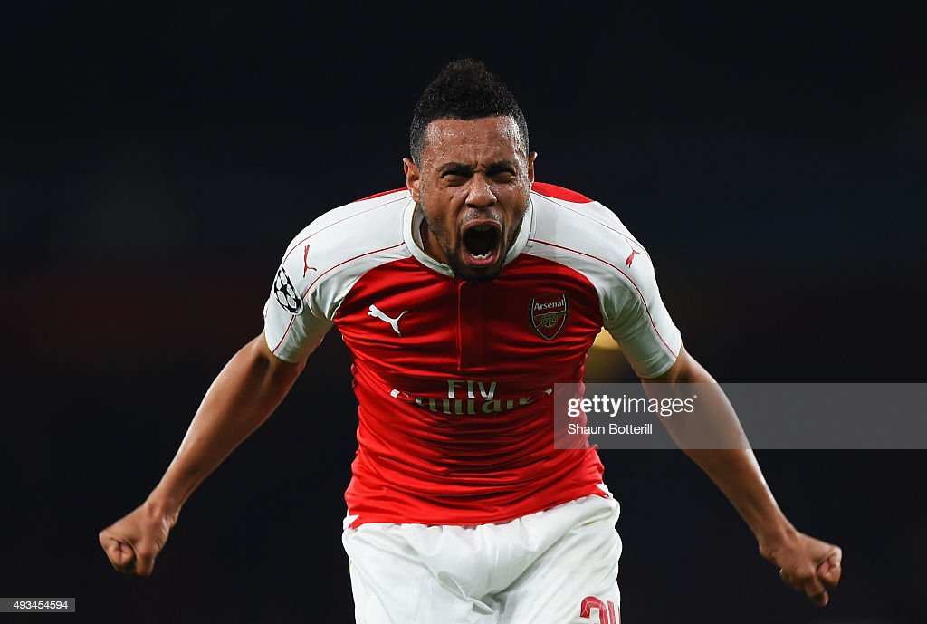 <a gi-track='captionPersonalityLinkClicked' href=/galleries/search?phrase=Francis+Coquelin&family=editorial&specificpeople=8957797 ng-click='$event.stopPropagation()'>Francis Coquelin</a> of Arsenal celebrates as Olivier Giroud scores their first goal during the UEFA Champions League Group F match between Arsenal FC and FC Bayern Munchen at Emirates Stadium on October 20, 2015 in London, United Kingdom.