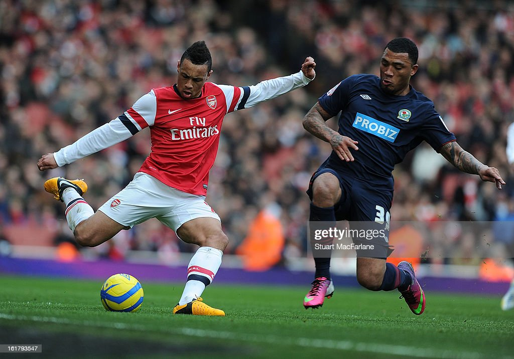 Francis Coquelin of Arsenal challenged by Colin Kazim-Richards of Blackburn during the FA Cup Fifth Round match between Arsenal and Blackburn Rovers at the Emirates Stadium on February 16, 2013 in London, England.