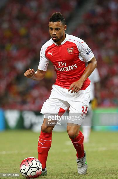 Francis Coquelin of Arsenal dribbles the ball during the Barclays Asia Trophy match between Arsenal and Everton at the National Stadium on July 18...