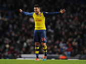 Francis Coquelin of Arsenal during the Barclays Premier League match between Manchester City and Arsenal at Etihad Stadium on January 18 2015 in...