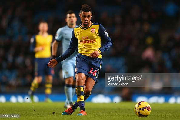 Francis Coquelin of Arsenal during the Barclays Premier League match between Manchester City and Arsenal at the Etihad Stadium on January 18 2015 in...