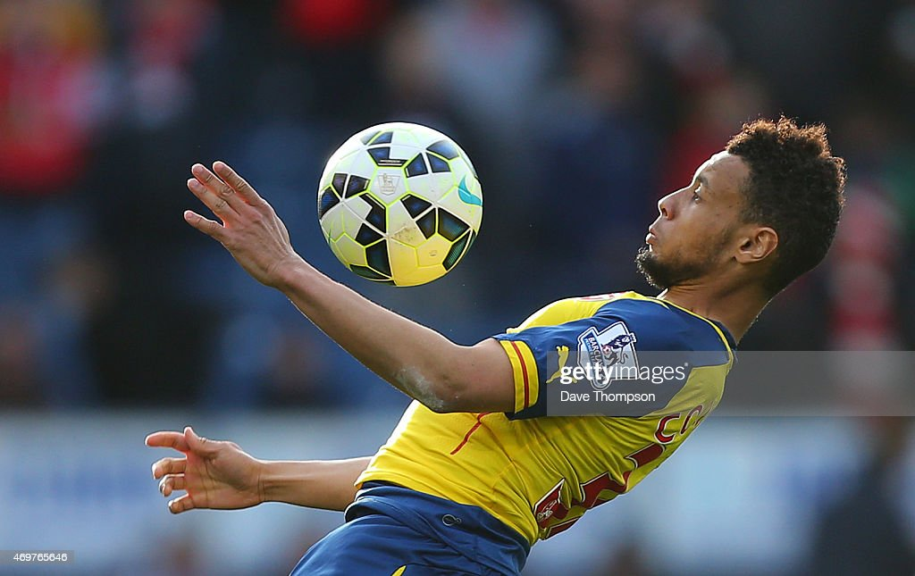 Francis Coquelin of Arsenal during the Barclays Premier League match between Burnley and Arsenal at Turf Moor on April 11 2015 in Burnley England