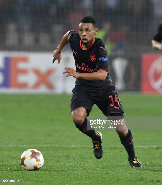 Francis Coquelin of Arsenal during the UEFA Europa League group H match between Crvena Zvezda and Arsenal FC at Rajko Mitic Stadium on October 19...
