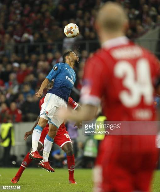 Francis Coquelin of Arsenal FC in action against Sehrou Guirassy of 1FC Cologne during the UEFA Europa League Group H soccer match between 1FC...